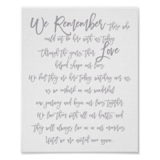 Chic Hand Lettered Wedding Memorial Sign