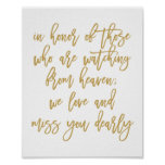 Chic Hand Lettered Wedding Missing Loved Ones Gold Poster