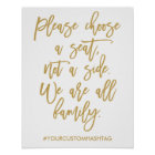 Chic Hand Lettered Wedding Please Choose A Seat Poster