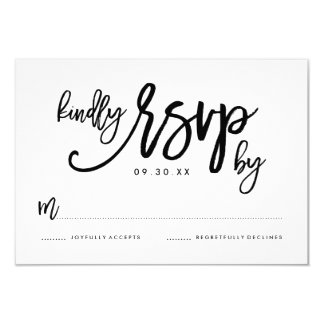 Chic Hand Lettered Wedding RSVP Card