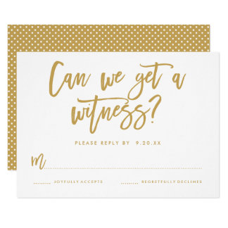 Chic Hand Lettered Wedding RSVP Card in Gold