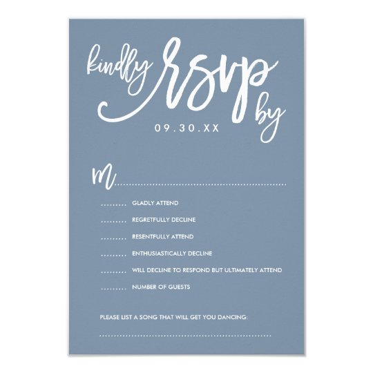Chic Hand Lettered Wedding RSVP Dusty Blue Card