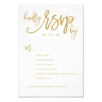 Chic Hand Lettered Wedding RSVP Options Card 9 Cm X 13 Cm Invitation Card