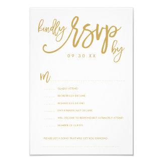 Chic Hand Lettered Wedding RSVP Options Card 9 Cm X 13 Cm Invitation Card
