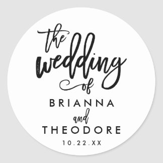 Chic Hand Lettered Wedding Sticker