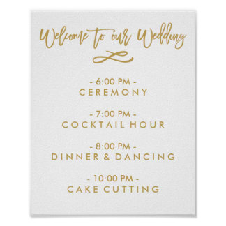 Chic Hand Lettered Wedding Welcome Schedule Poster