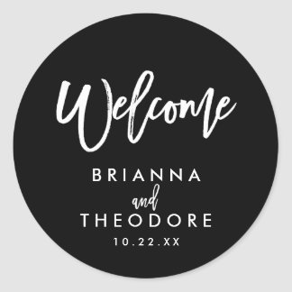 Chic Hand Lettered Wedding Welcome Sticker