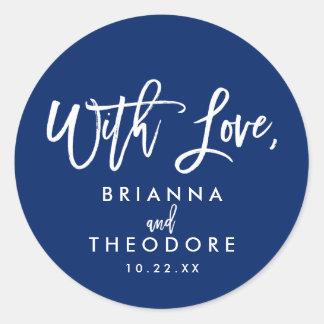 Chic Hand Lettered Wedding With Love Favor Label Round Sticker