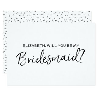 "Chic Hand lettered ""Will you be my bridesmaid"" 13 Cm X 18 Cm Invitation Card"