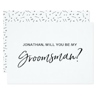 "Chic Hand lettered ""Will you be my groomsman"" Card"