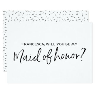 "Chic Hand lettered ""Will you be my maid of honor"" Card"