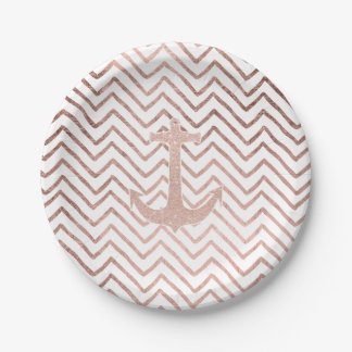 Chic handdrawn chevron rose gold nautical anchor paper plate