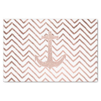 Chic handdrawn chevron rose gold nautical anchor tissue paper