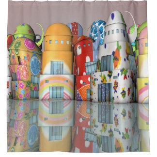 Chic Happy Buildings Shower Curtain
