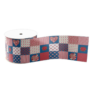 Chic Hearts and Roses Faux Patchwork 3-inch Ribbon Grosgrain Ribbon