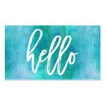 Chic Hello Aqua Watercolor   Business Card