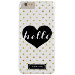 Chic Hello Black Heart   Gold Dots Custom Barely There iPhone 6 Plus Case
