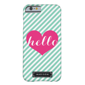 Chic Hello Hot Pink Heart | Mint Stripes Custom Barely There iPhone 6 Case