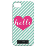 Chic Hello Hot Pink Heart | Mint Stripes Custom Case For The iPhone 5