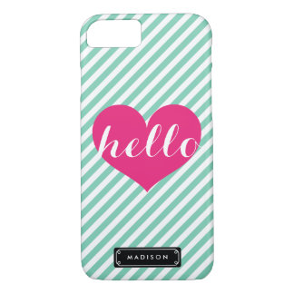 Chic Hello Hot Pink Heart | Mint Stripes Custom iPhone 7 Case