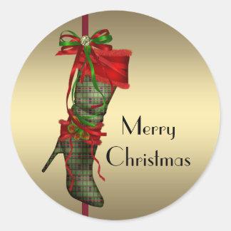 Chic High Heel Stocking Red Gold Christmas Sticker