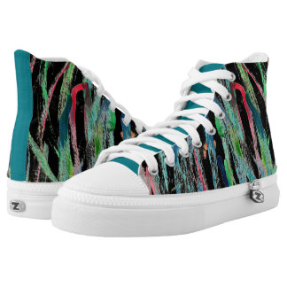 CHIC HIGH TOP ZIPZ_ABSTRACT & PAINTED ON BLACK