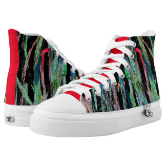 CHIC HIGH TOP ZIPZ_ABSTRACT & PAINTED ON BLACK PRINTED SHOES
