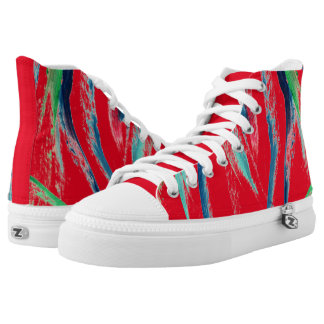 CHIC HIGH TOP ZIPZ_COOL,MODERN,COLORFUL ABSTRACT PRINTED SHOES