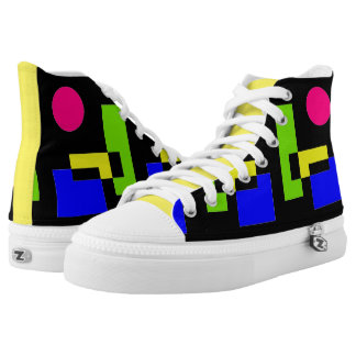 CHIC HIGH TOP ZIPZ_MODERN,COLORFUL ABSTRACT PRINTED SHOES