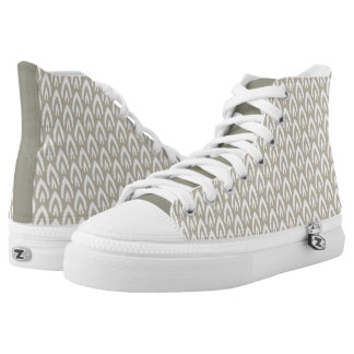 CHIC HIGH TOP ZIPZ_MODERN TAUPE/WHITE FLAME PRINTED SHOES
