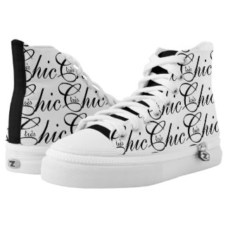 """CHIC HIGH TOP ZIPZ_""""tres Chic"""" BLACK TEXT ON WHITE Printed Shoes"""