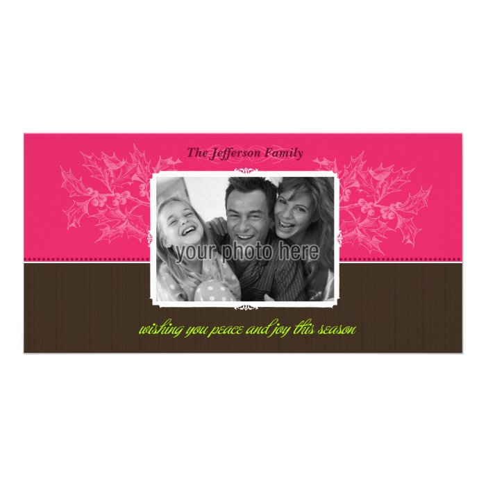 Chic Holly Christmas Photo Card in Pink