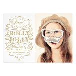 Chic Holly Jolly Christmas Holidays Photo Cards Custom Invites