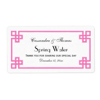 Chic Hot Pink Greek Key Frame H Water Bottle Label Shipping Label