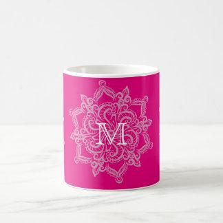 Chic Hot pink mandala monogram 11 oz Classic Mug