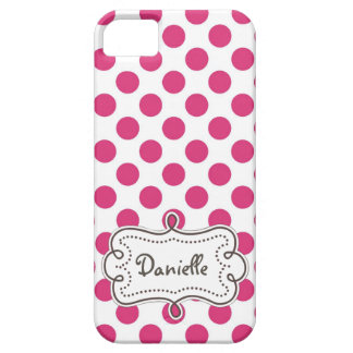 Chic Hot Pink PolkaDots Personalized Lady iPhone 5 Case