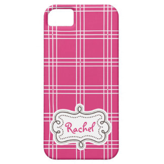 Chic Hot Pink White Plaid Personalized Lady iPhone 5 Cover