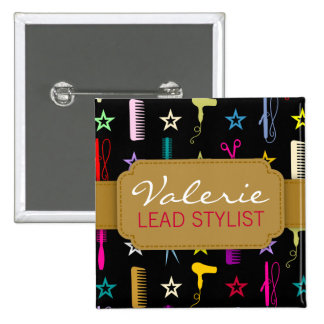 Chic Hues Multicolor Custom Hair Salon Name Badge Buttons