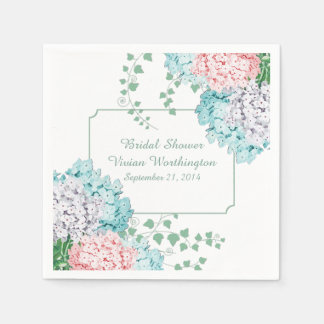 Chic Hydrangeas and Ivy Bridal Shower Napkins Disposable Napkins