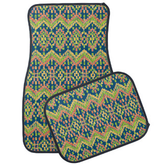 Chic Ikat Colorful Ethnic Pattern on Blue Car Mat