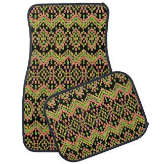 Chic Ikat Ethnic Pattern on Black to Customize Car Mat