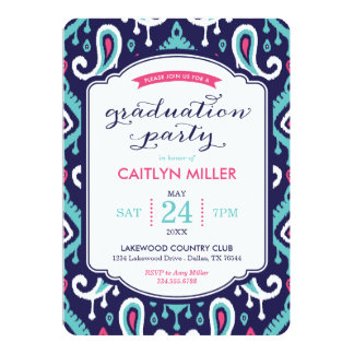 Chic Ikat Paisley Graduation Party Invitation