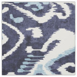 Chic indigo blue and white ikat tribal patterns fabric