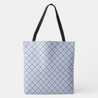 Chic Indigo Blue and White Preppy Check Pattern Tote Bag