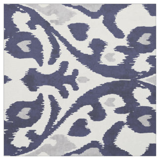 Chic indigo blue grey white ikat tribal patterns fabric