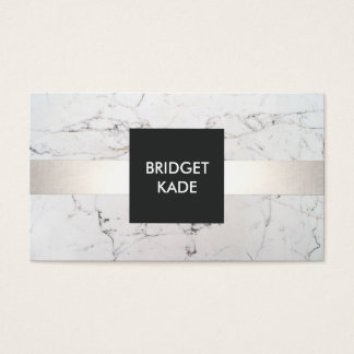 Chic Interior Designer Silver Striped White Marble Business Card