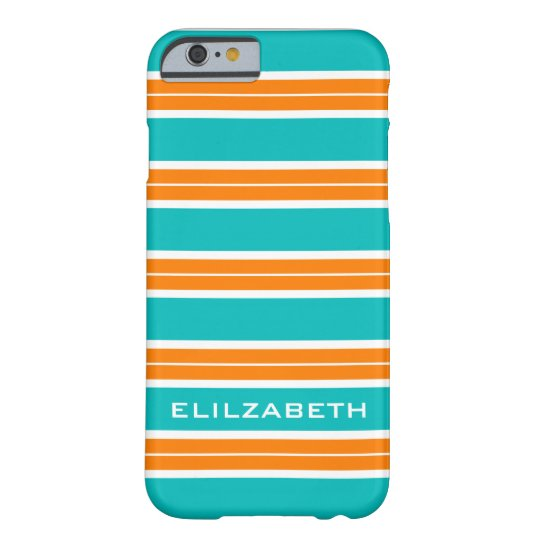 CHIC IPHONE6 CASE_TURRQUOISE/ORAN/WHITE STRIPES #5 BARELY THERE