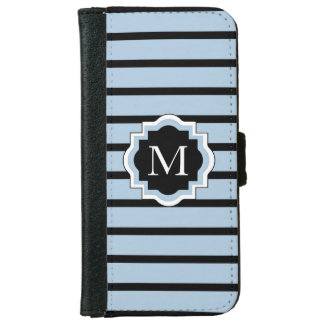 CHIC IPHONE6 WALLET CASE_21 BLUE/BLACK STRIPES