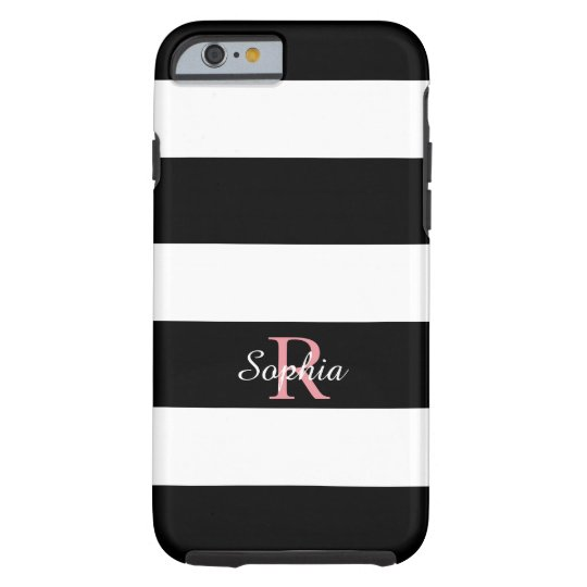 CHIC IPHONE 6 CASE_BLACK/WHITE STRIPES TOUGH iPhone 6 CASE