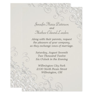 Chic Ivory and White Classic Wedding Invitation